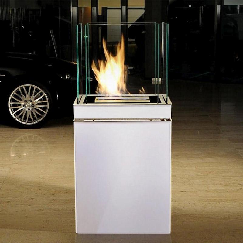 Ethanolkamin Semi Flame Edelstahl weiß von radius design