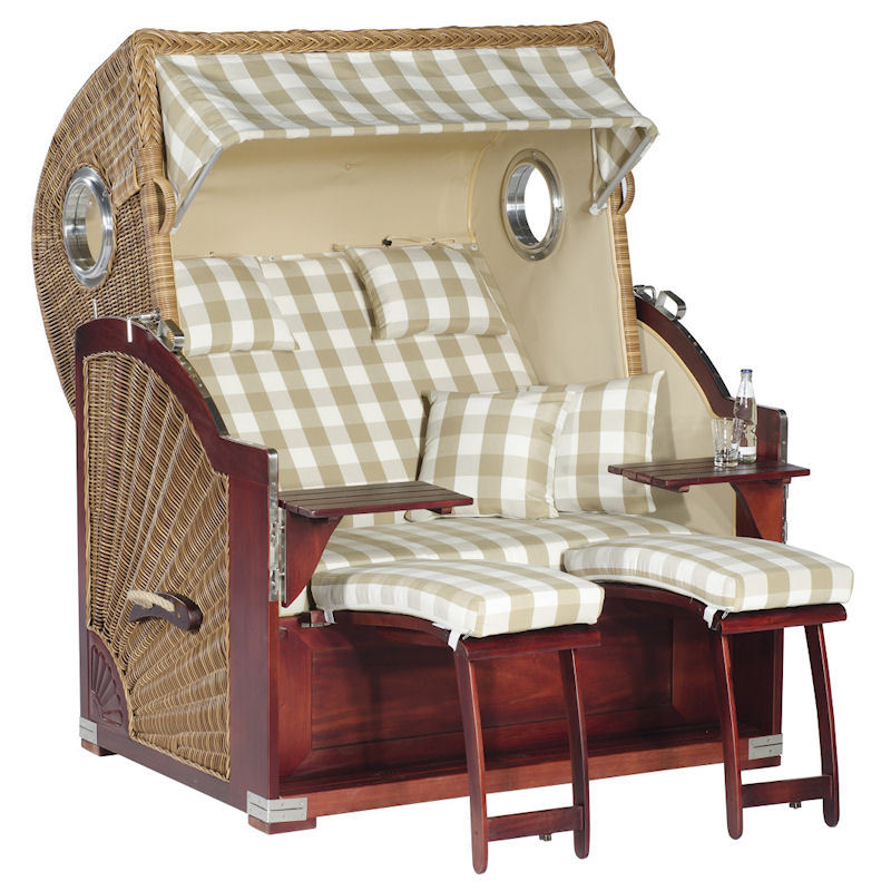 Strandkorb Rustikal 500 Plus Comfort natura-braun Stoff 1224