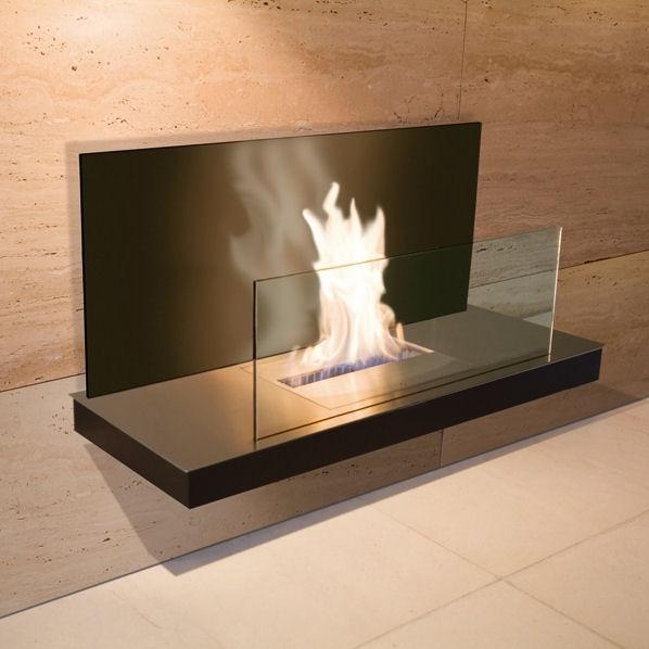 Wall Flame 2 Edelstahl, schwarzem Gehäuse mit schwarzer Glasrückwand 540b