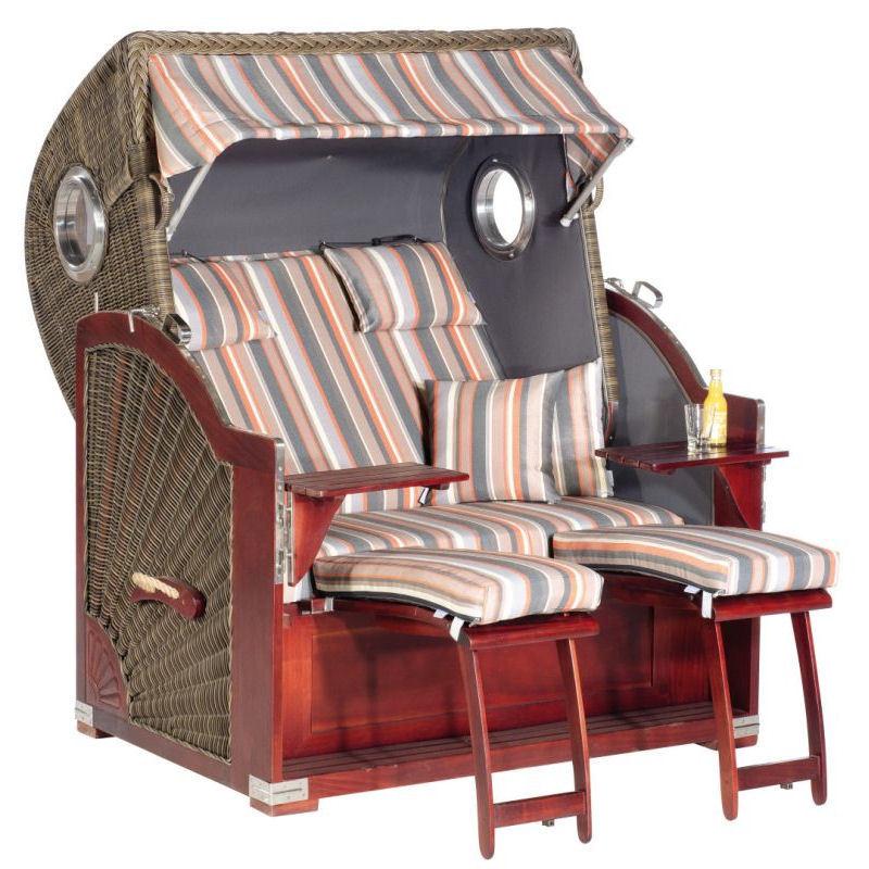 Strandkorb Rustikal 500 Plus Comfort cappuccino Stoff 1235