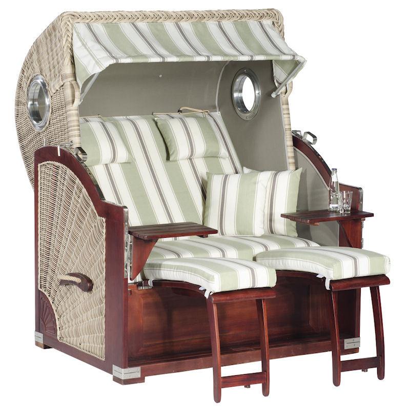 Strandkorb Rustikal 500 Plus Comfort antik-weiß Stoff 1227