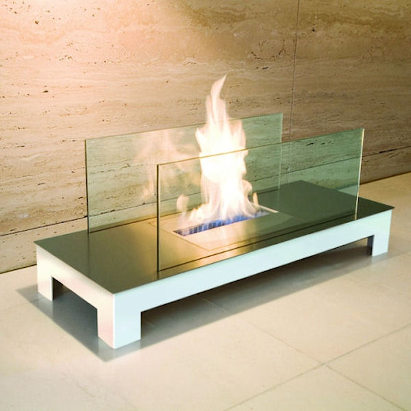 Floor Flame Edelstahl mit weißem Gehäuse 537e