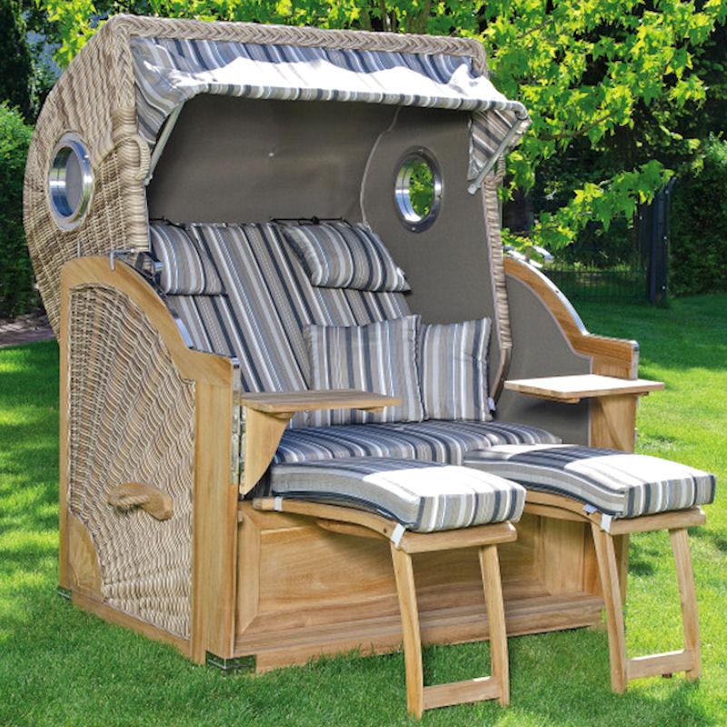 Strandkorb Rustikal 500 Plus Comfort TEAK antik-weiß Stoff 1233