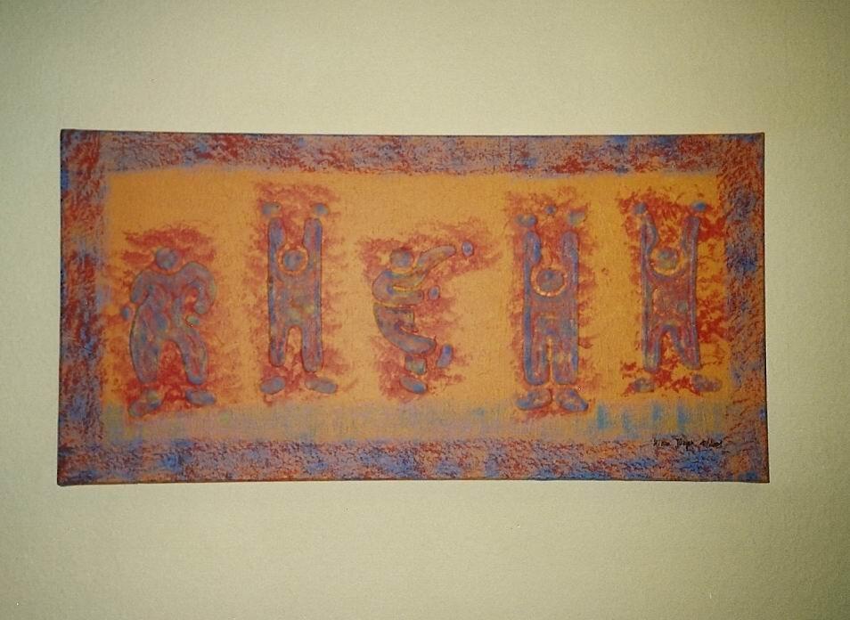 """Körperalphabet Nr.3 """" RHEIN """"   Acryl - Struktur - Leinwand"""