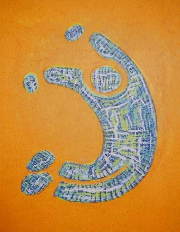 """Struktur/Leinwand/Acryl - Körperalphabet Nr.3 """" J """""""