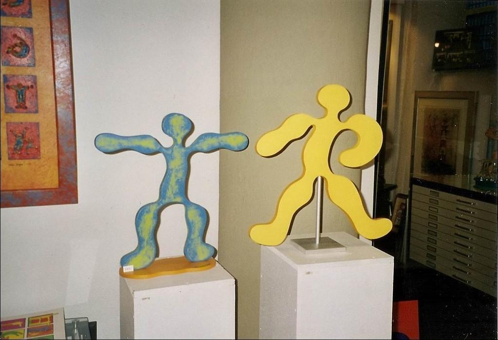 "Körperalphabet-Figuren "" T und R ""  Acryl - Holz"