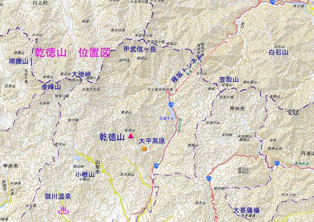 乾徳山 地図 日本二百名山