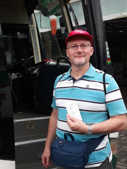 Abfahrt mit Bus zum Flughafen in Guayaquil