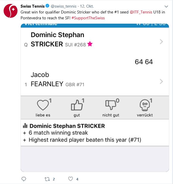 Erste Twitter Meldung über Dominic via Swisstennis