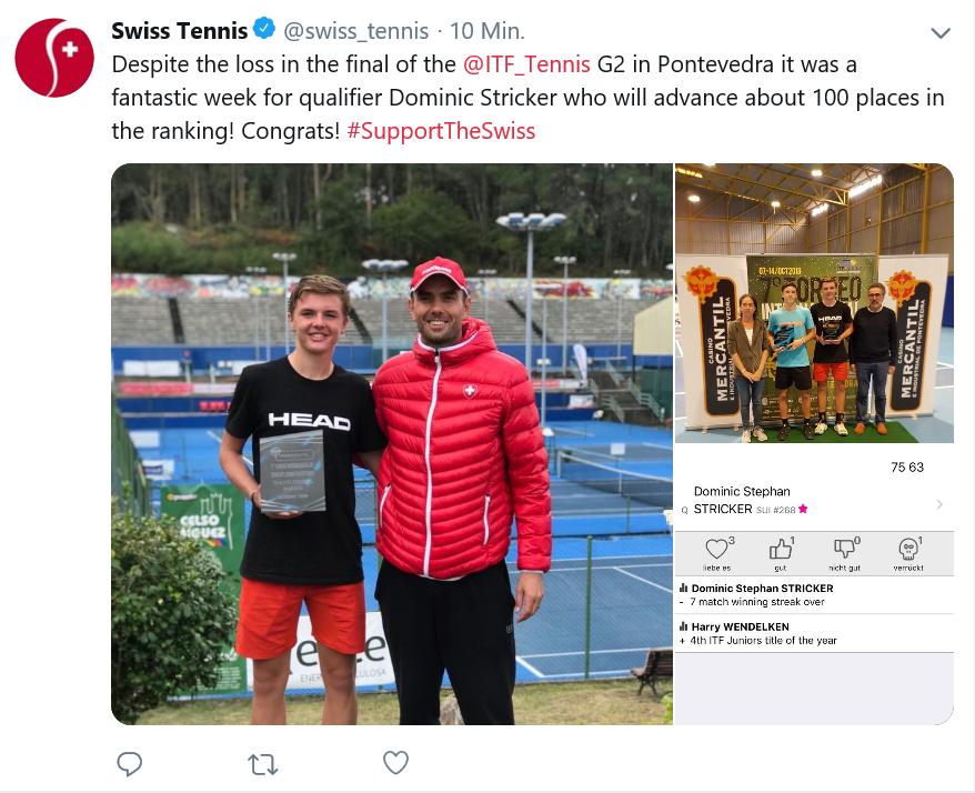 Dritte Twitter Meldung über Dominic via Swisstennis, was für ein Resultat!