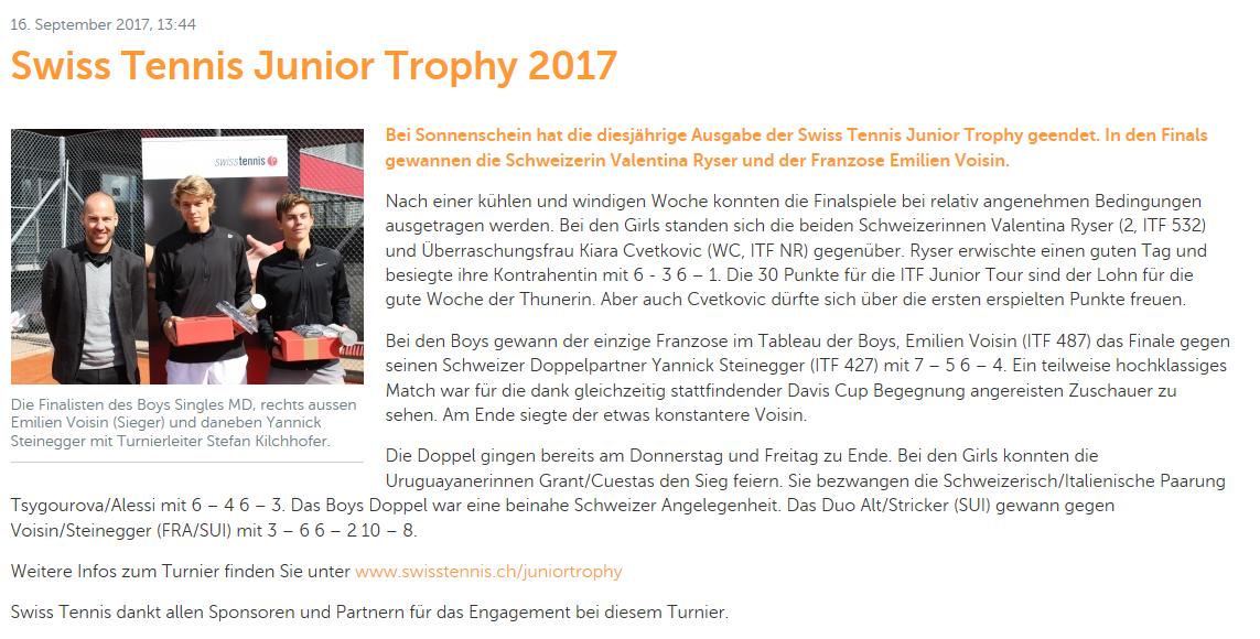 Bericht Swiss Tennis