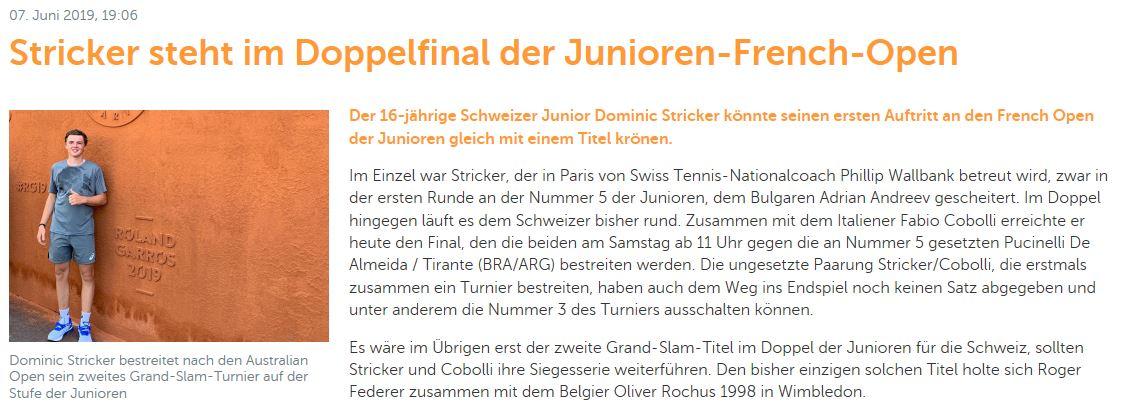 Eintrag auf Swiss Tennis.
