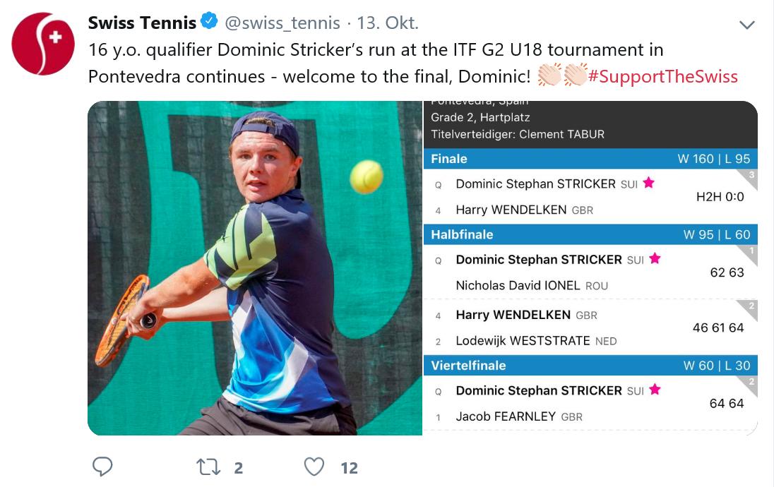 Zweite Twitter Meldung über Dominic via Swisstennis
