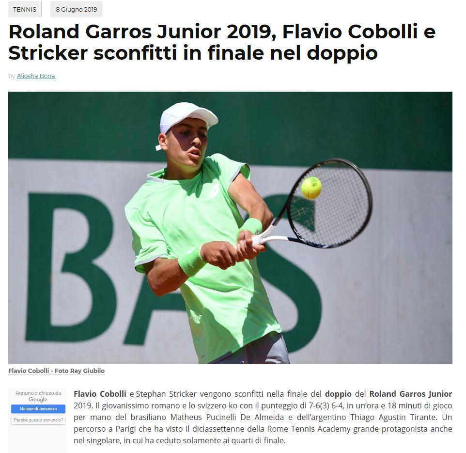 Sein Doppelpartner, Flavio Cobolli.