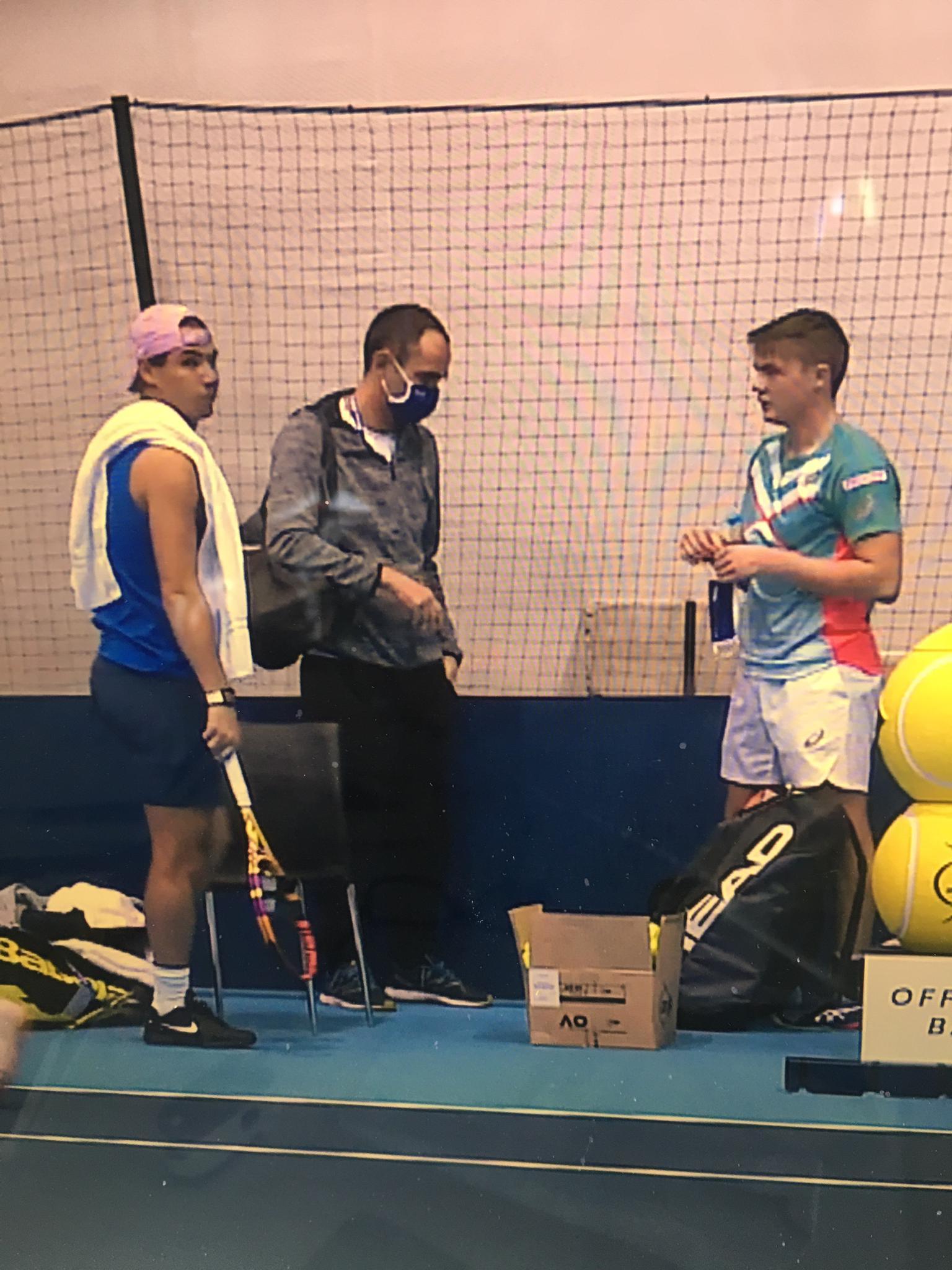Nadal, Stricker und Coach Swinnen