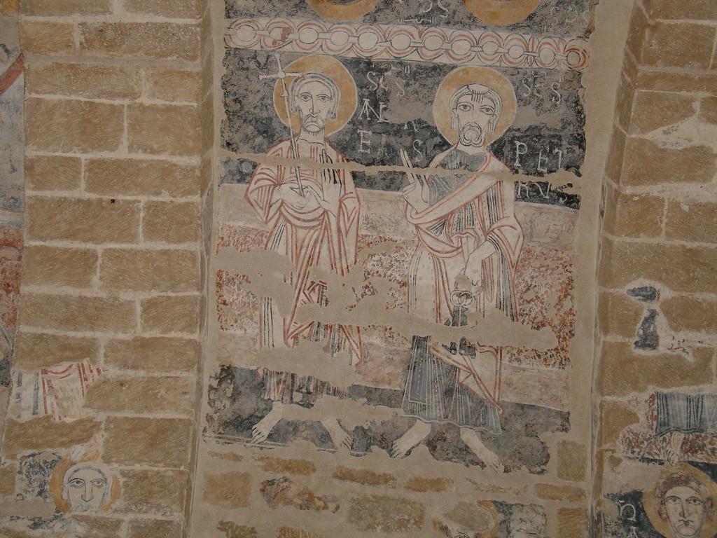 Valls: fresque du Maître de Pedret représentant Saint Pierre et Saint André