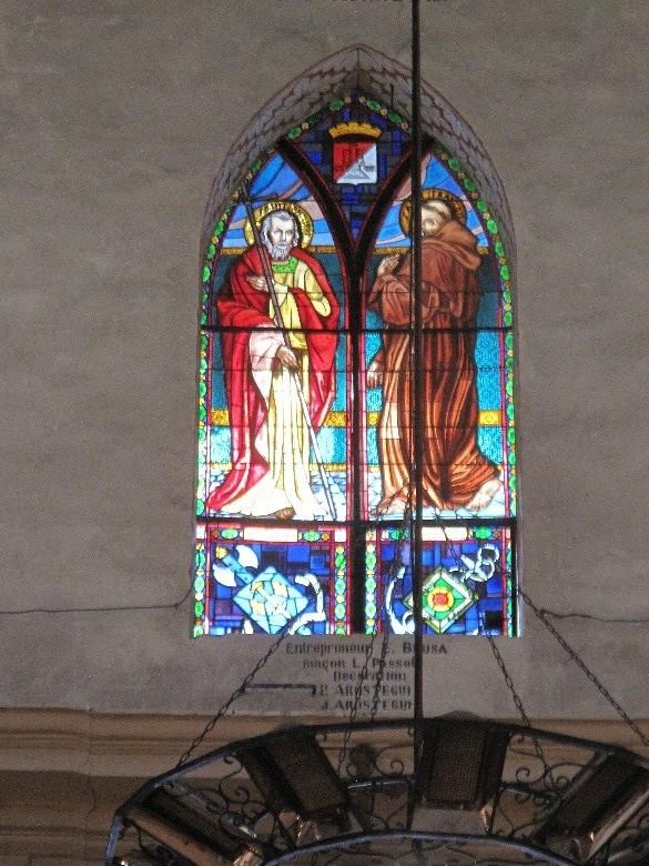 Casteljaloux: église Notre-Dame, vitrail de Saint Philippe et Saint François