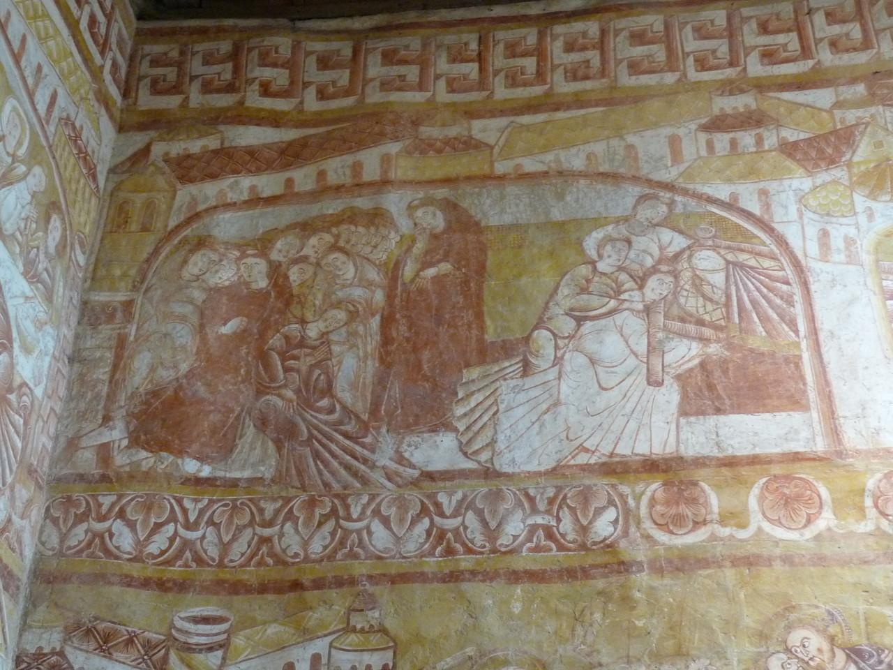 Vic, fresques de l'église : le vol du corps de Saint Martin