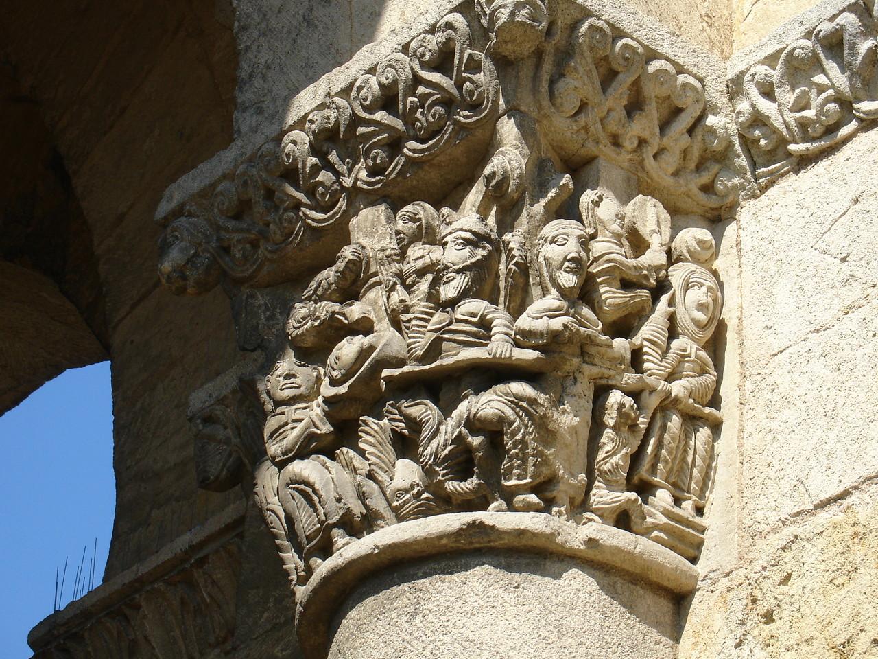 La Sauve : l'abbaye, chapiteau du banquet d'Hérode