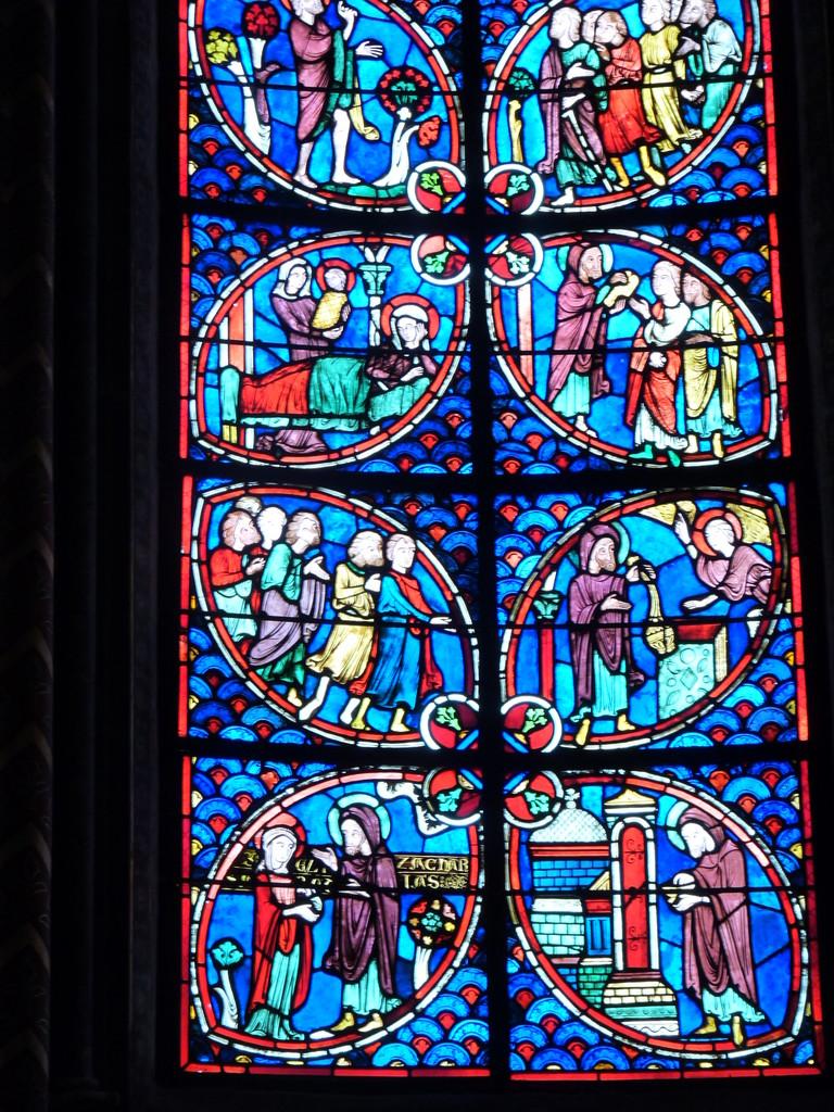 Bourges, la cathédrale Saint Etienne : le vitrail de Saint Jean Baptiste