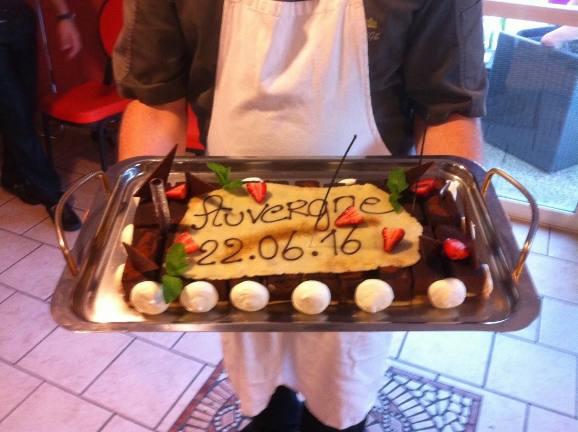 Le gâteau élaboré par l'hôtel Pariou à Issoire en guise de bienvenue