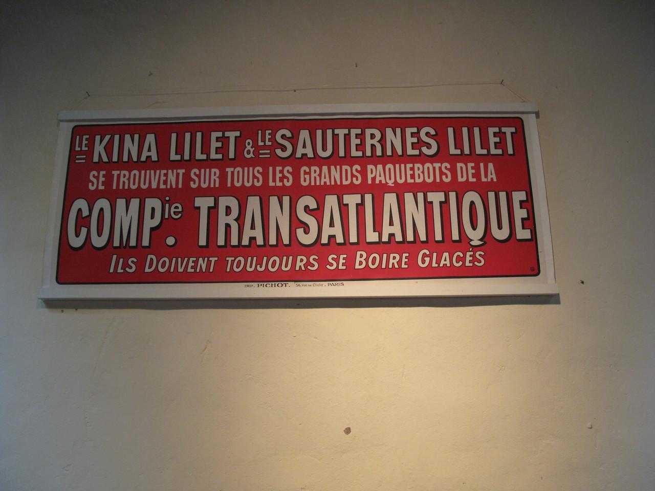 Lillet : réclames de la Compagnie Transatlantique.