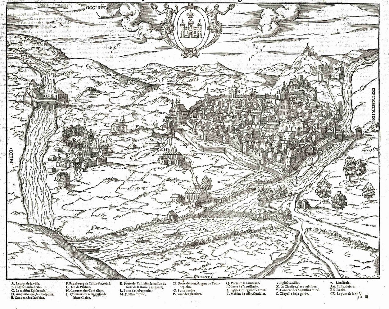 """Périgueux: le """"vrayPourtraict"""" de la ville de Périgueux, dessin de 1575, typolithographie par Auguste Dupont"""