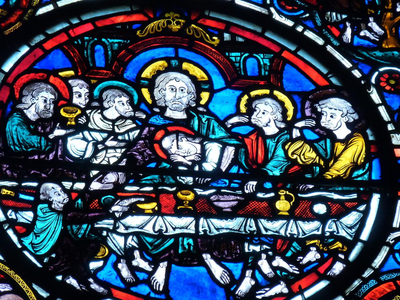 Bourges, la cathédrale Saint Etienne : le vitrail de la passion, la Cène