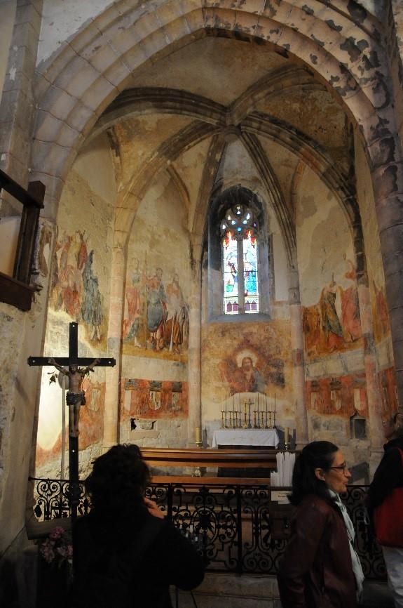 L'abbaye de Marcilhac-sur-Célé:  la chapelle Nord décorée des fresques du 15è siècle