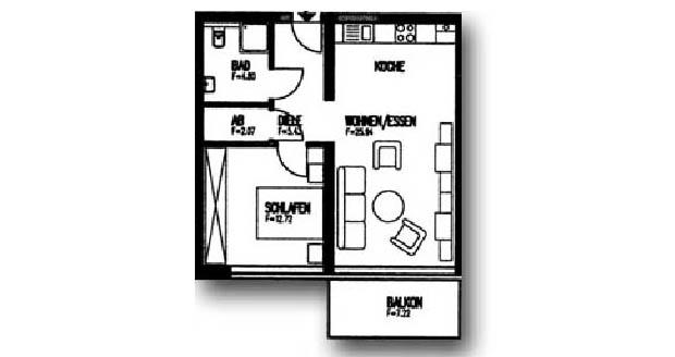 Zweiraumwohnung (52 m²) - mit Balkon zur Südseite