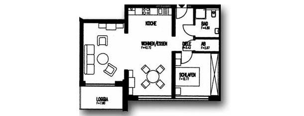 Zweiraumwohnung (68 m²) - mit Loggia zur Südseite