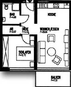 Skizze einer seniorengerechten Zwei-Zimmer-Wohnung mit Balkon