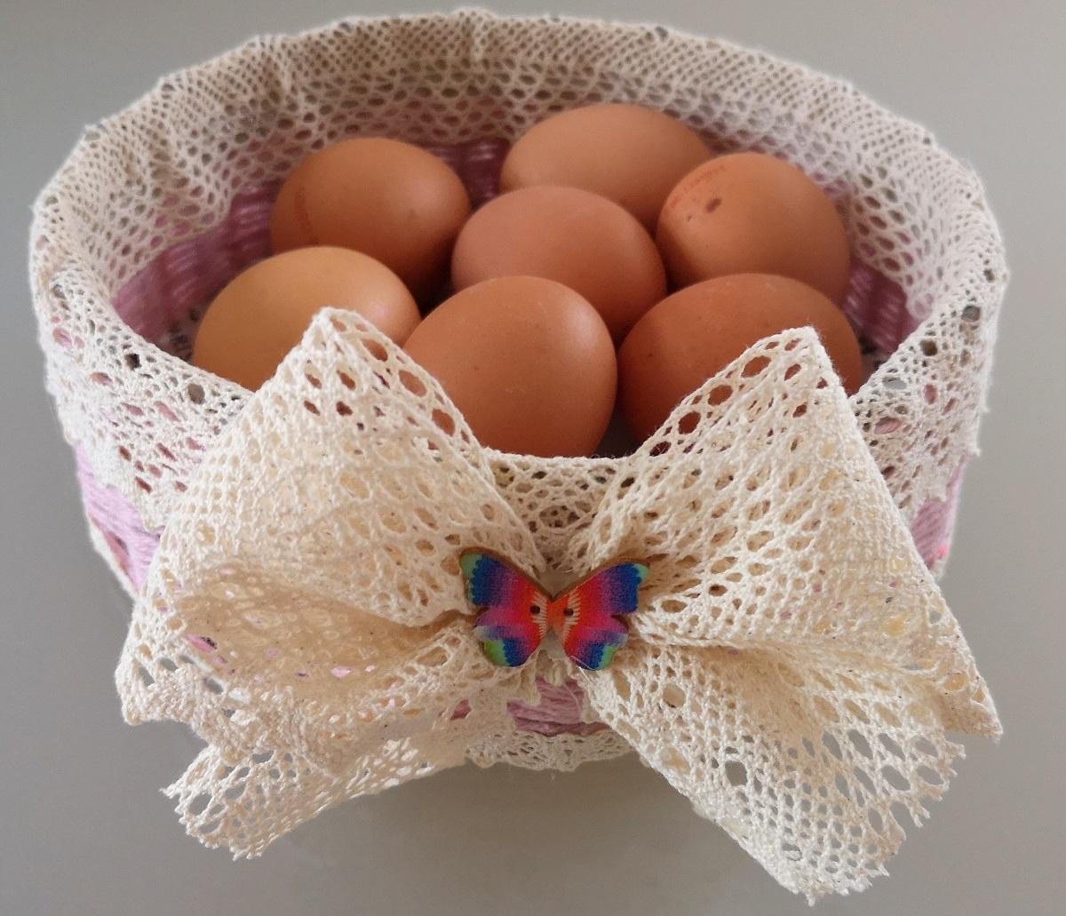Ein hübsches Eierkörbchen aus Resten