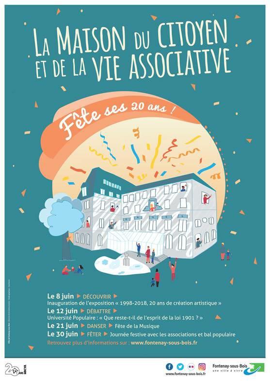 Exposition collective du 8 au 30 juin pour les 20 ans de la maison du citoyen et de la vie associative de Fontenay sous bois.