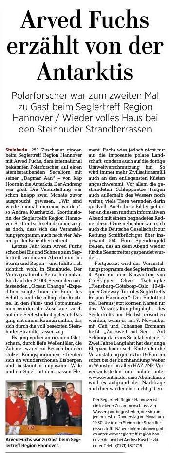 HAZ, Wunstorfer Teil, 22.03.2019   http://www.haz.de/Umland/Wunstorf
