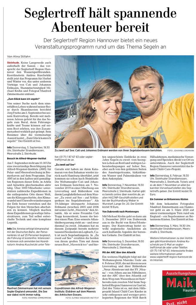 www.m.haz.de, erschienen in den Lokalteilen der HAZ August 2019