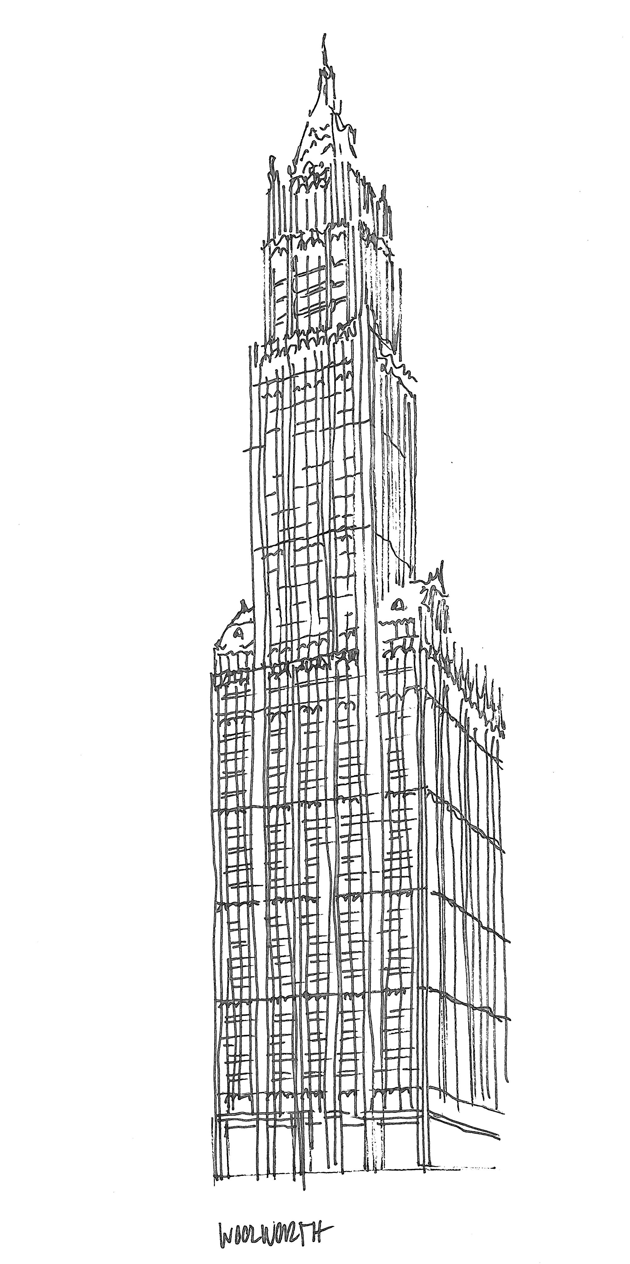 First Leiter & Woolworth Building, sketched by Heidi Mergl