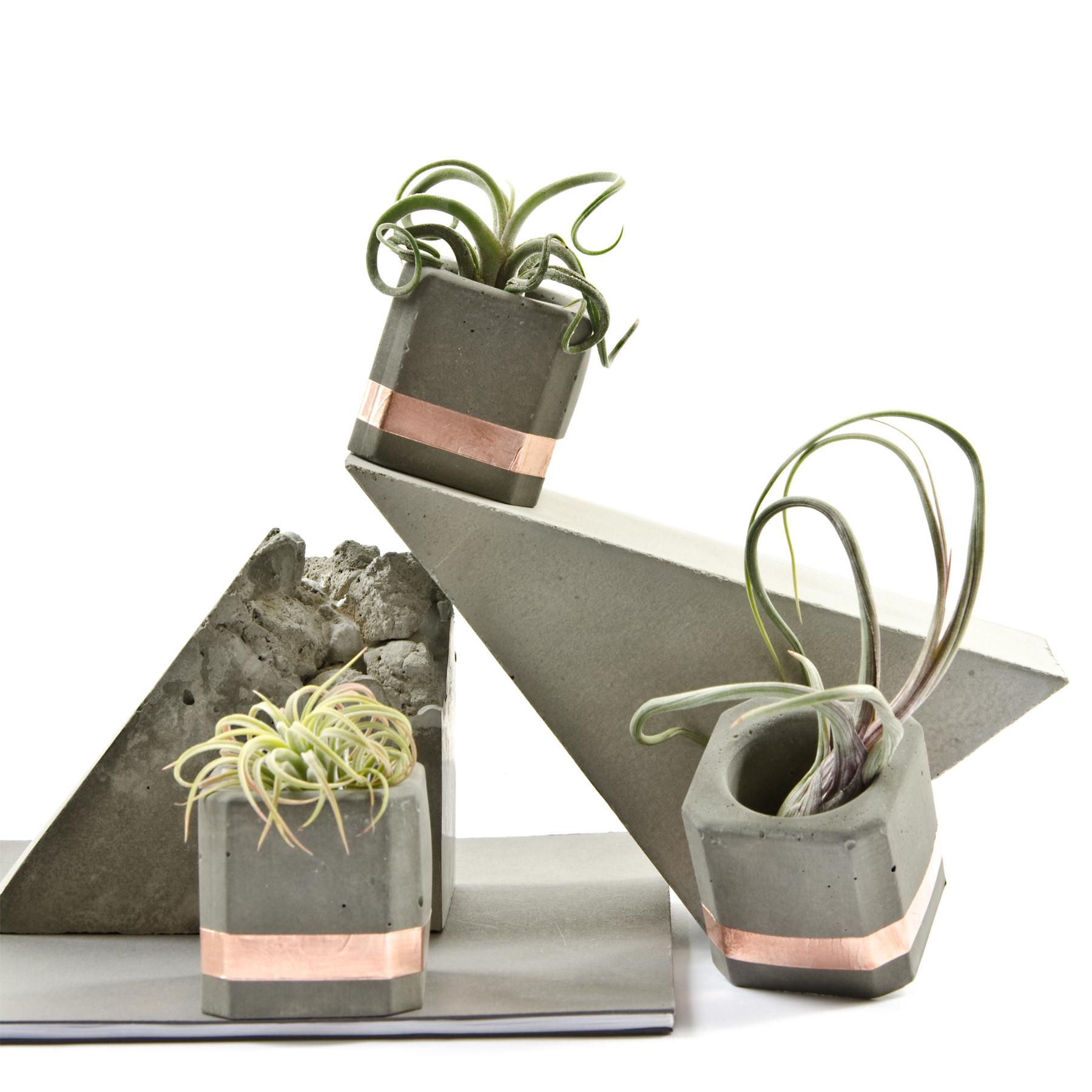 Concrete Copper Planter Cups by PASiNGA