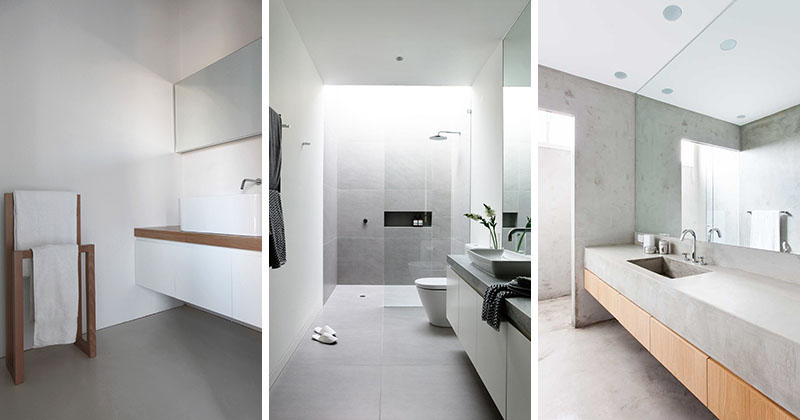 Creating a minimalist bathroom with a neutral colour palette, image via the The Contemporist