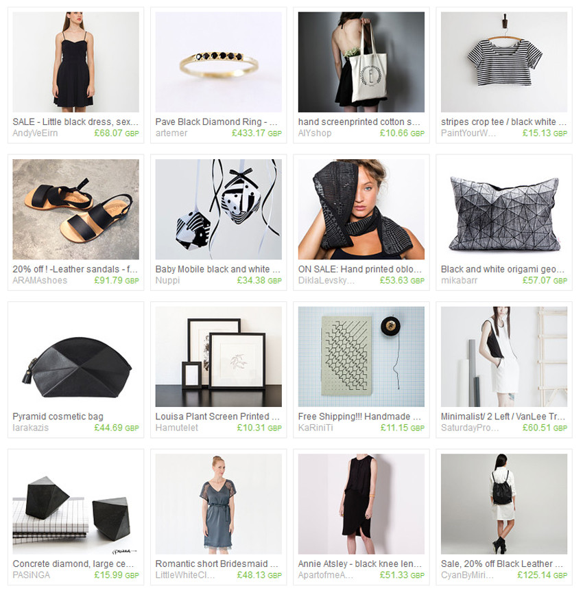 Monotone Geometric Faves, Etsy Treasury Collection