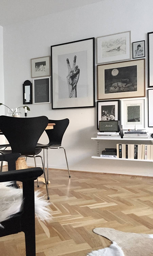 Monochrome Art Wall Inspiration, image via thedesignchaser