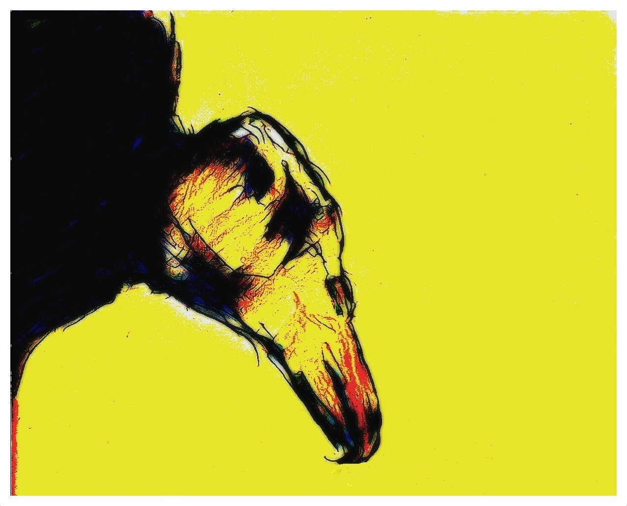 Gelber Geier- digital Remix einer eigenen Zeichnung