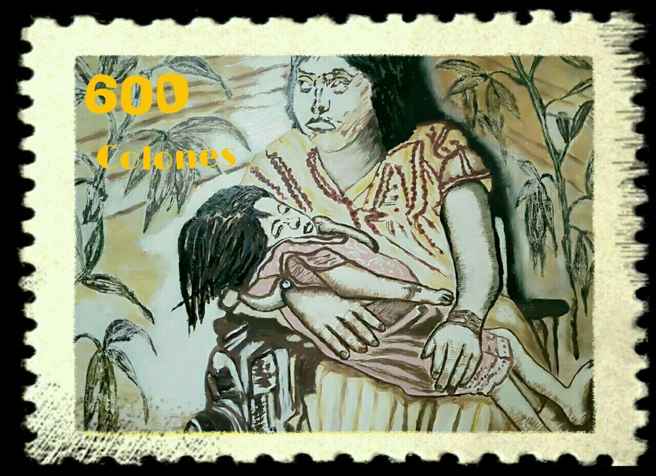 Briefmarkenentwurf, digital remix eigener Malerei