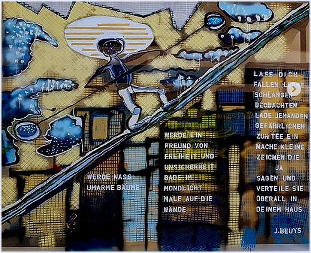DAS SCHWIERIGE GLEICHGEWICHT BEIM AUFSTIEG 4/2018, temporäre Schaufenstermalerei in Acryl , 2,80 x 3,40 m