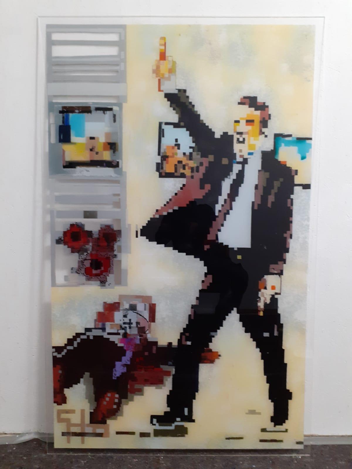 Mord in der Ausstellung    103 x 165 x 0,6 cm Spray auf transparenter Acrylplatte