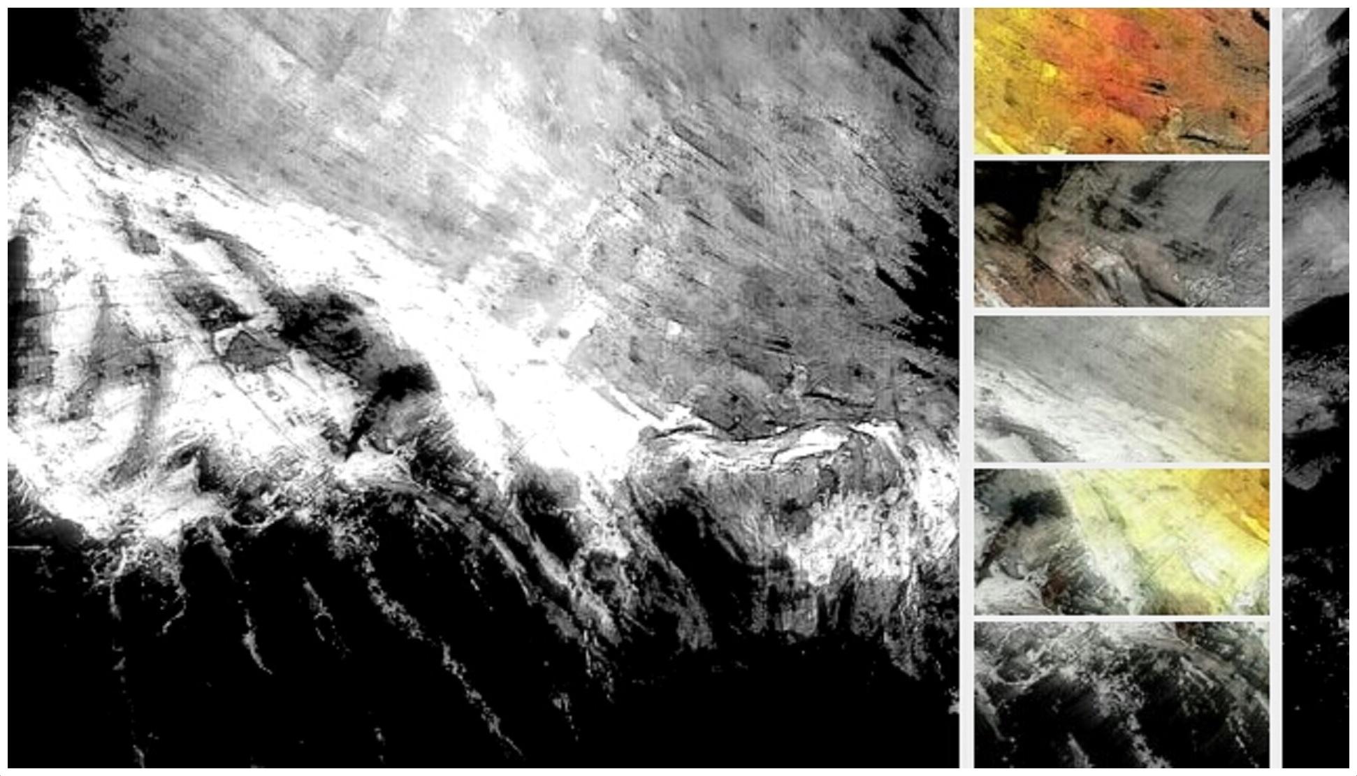 Flug 4U 9525 - digital Remix des Reliefbildes FIRE IN THE MOUNTAIN
