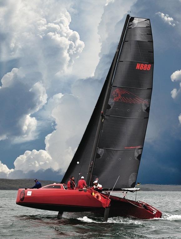 Sports Catamaran indian Chief racing in Wangi, Australia