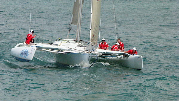Trimaran Akimbo racing to Gladstone