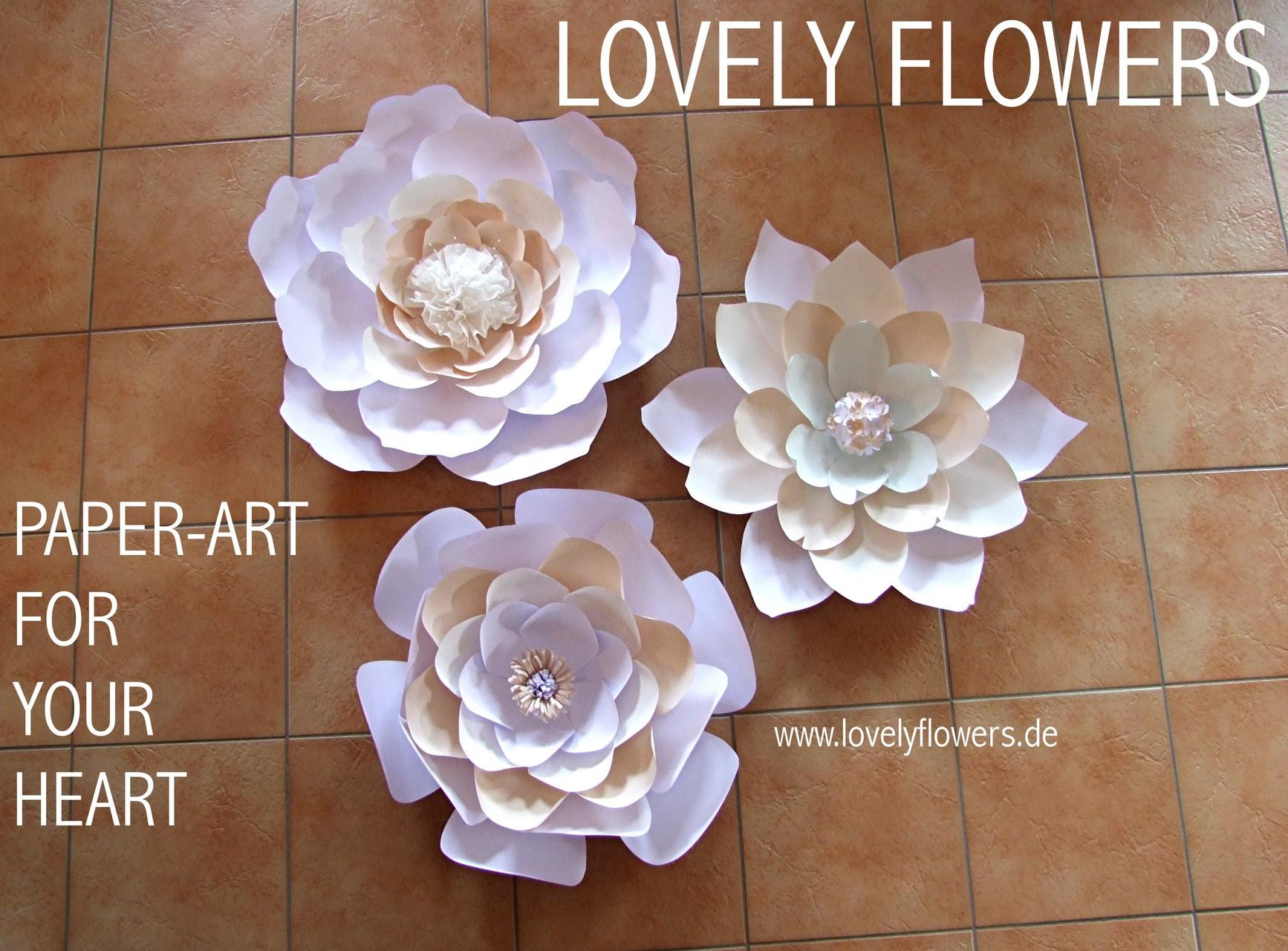 www.lovelyflowers.de - Dein Spezialist für PAPER-ART Großblumendekorationen!