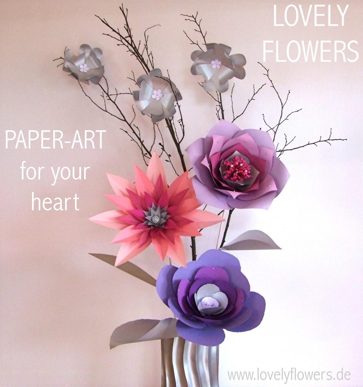 Paper-Art Großvasendekorationen von www.lovelyflowers.de von Chef-Paper-Artist Sabine Vöpel-Kramer für die Winterhochzeit in der Residenz zu Salzburg/Österreich